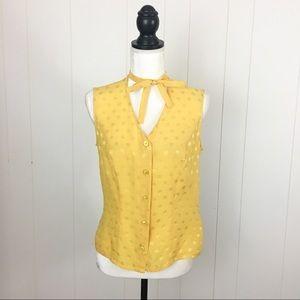 Escada Yellow Polka Dot Silk Career Blouse
